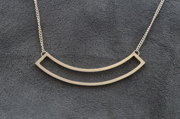 Silver Curved Pendant Necklace