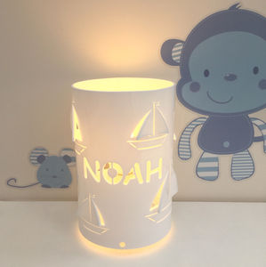 Personalised Boat Table Lamp Children's Lamp - children's lights & night lights