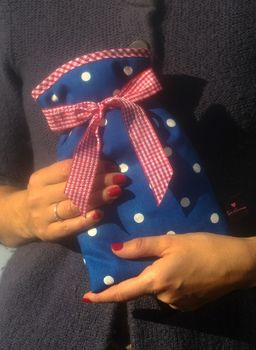 Mini Hot Water Bottle Navy Spotty
