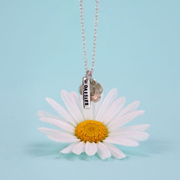 Peace Love And Daisies Personalised Silver Necklace