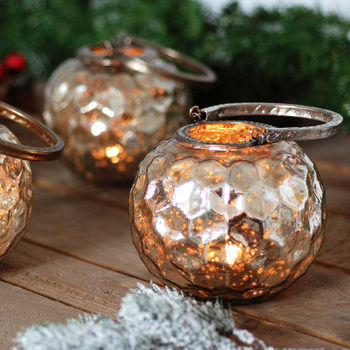 Metallic Sparkle Hanging Lantern Tea Light Holder