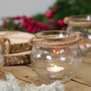 Round Glass Candle Holder Rope Handled Lantern - candles & home fragrance