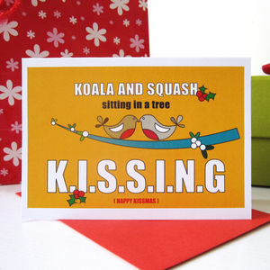 Personalised 'K.I.S.S.I.N.G' Christmas Card - cards