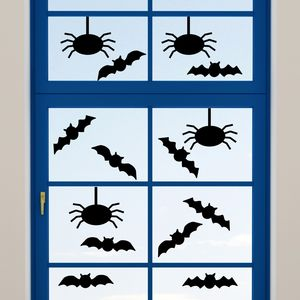 Halloween Bats And Spider Window Cling Stickers - living room