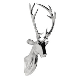 Chrome Stag Head - sculptures