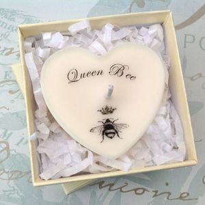 Personalised 'Queen Bee' Scented Heart Candle - table decorations