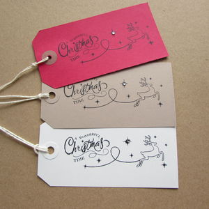 Six 'A Wonderful Christmas Time' Gift Tags - cards & wrap