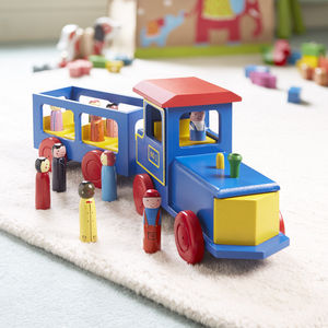 Big Blue Toy Train - handmade toys and games