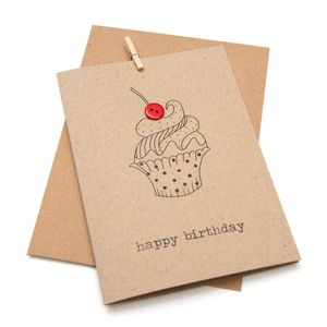 'Happy Birthday' Cupcake Button Box Card