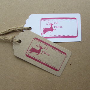Pack Of Six Reindeer Christmas Gift Tags