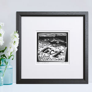 Personalised Woodcut Beach Print - prints & art sale
