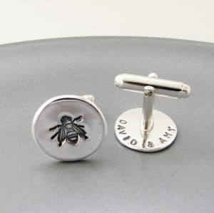 Silver Bee Cufflinks With A Secret Message - personalised jewellery