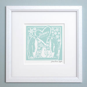 Personalised Woodcut Penguin Print