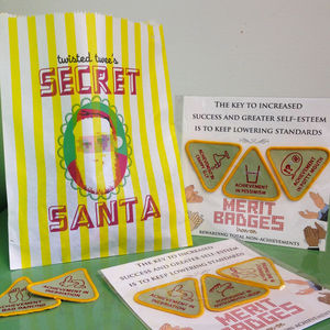 Secret Santa Bag With A Range Of Gifts