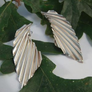 Silver Angel Wing Corrugated Earrings