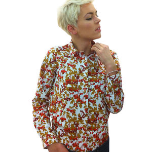 Long Sleeve Berry Print Shirt - blouses & shirts