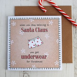 When Stop Believing Christmas Card; Pants - funny cards