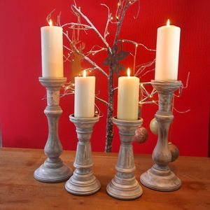 Pair Of Vintage Grey Candlesticks - gifts for the home