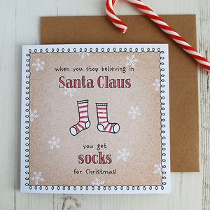 When Stop Believing Christmas Card Pack; Socks - funny cards