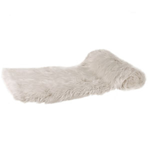 Thick Cream Faux Fur Throw - bedroom