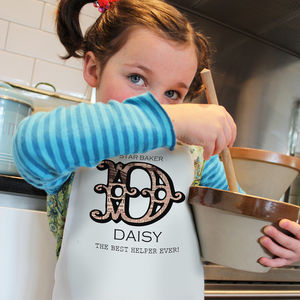 Personalised Childrens 'Vintage Monogram' Apron - children's cooking