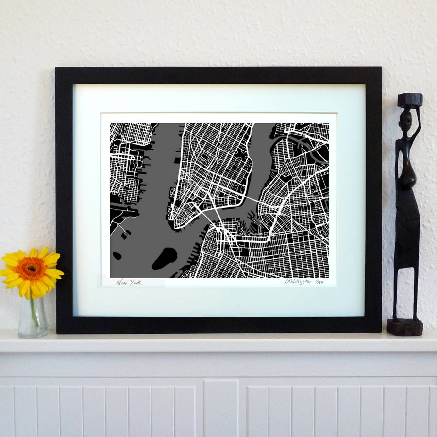 New York Map Art Print by Firewater Gallery