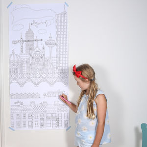 Personalised Colouring Cityscape Or Height Chart Poster