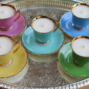 Five Jewel Coloured Vintage Teacup Candles