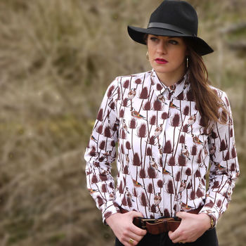 Long Sleeve Goldfinch Print Shirt