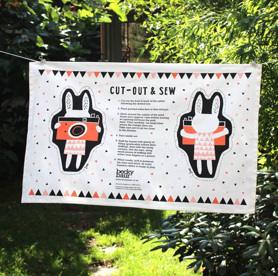 Cut Out And Sew Rabbit Tea Towel