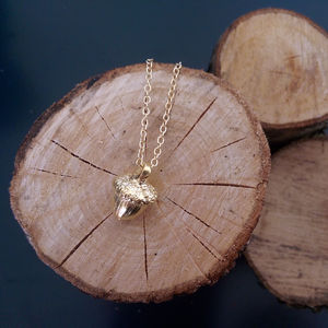 All Dreams Start Small Acorn Necklace In Gold