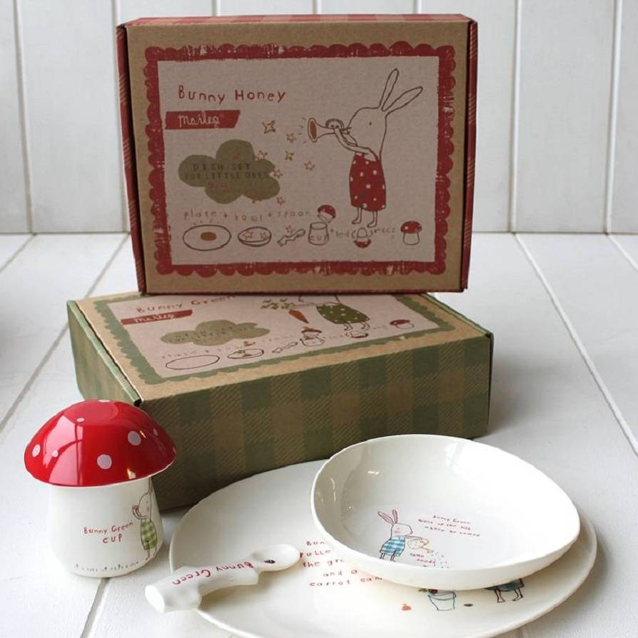 kids red bunny breakfast set by posh totty designs interiors