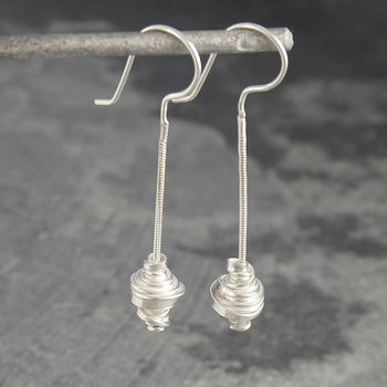 Coiled Snake Chain Silver Drop Earrings