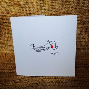 Pack Of Eight Illustrated Robin Christmas Cards - cards