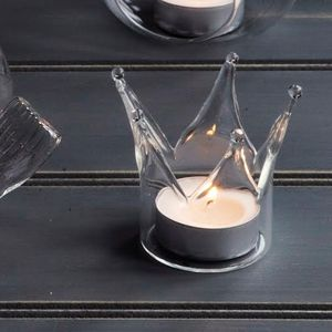 Glass Crown Tea Light Holder - candles & candle holders