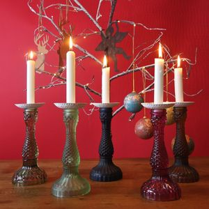 Coloured Glass Candlestick