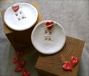 Ceramic Ring Bowl With Handmade Button - wedding ring pillows