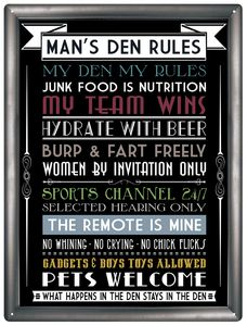 Man Den Rules Sign - signs