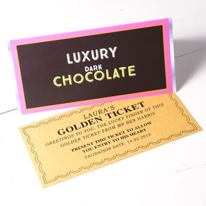 Chocolate Bar Card With Golden Ticket - birthday cards