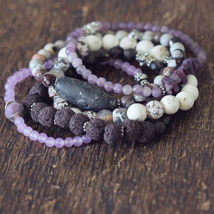 Purple Sapphire And Natural Stone Bracelets - bracelets & bangles