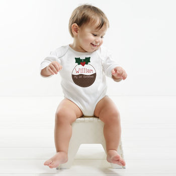 Personalised Christmas Pudding Baby Vest