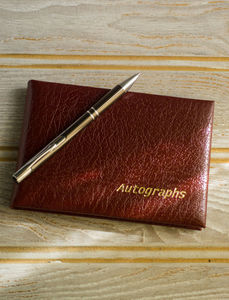 Real Leather Blank Autograph Book