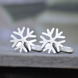 Snowflake Cufflinks In Sterling Silver - cufflinks