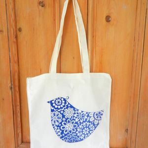 'Birdy' Hand Printed Cotton Shopper - shopper bags