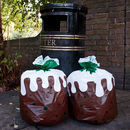 Set Of 12 Christmas Pudding Bin Bags
