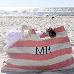 Pink And White Stripe Beach Bag - holdalls & weekend bags