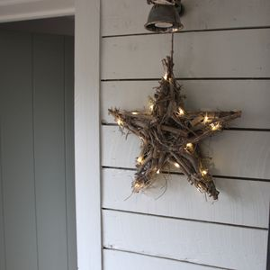 Wooden Twig Wreath Star With LED Lights