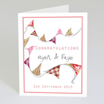 personalised wedding congratulations card by violet pickles