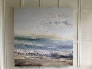 Summertime Blues Abstract Seascape Painting - contemporary art