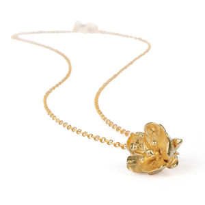 18k Gold Plated Hawthorn Flower Necklace - necklaces & pendants
